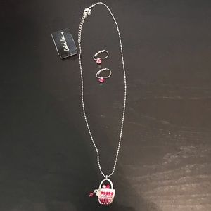 Cookie Lee Crystal Purse Necklace & Earring Set
